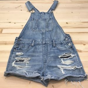 American Eagle denim shorts overalls size M